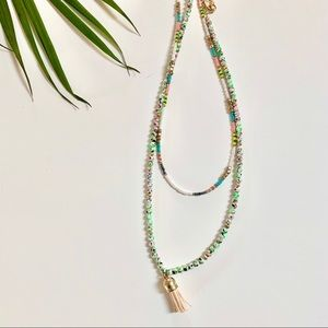 BoHo Tassel Beaded Bohemian Necklace Pastel Colors